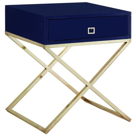 Brianna Navy Blue Lacquer Finish Nightstand - Goldtone Legs