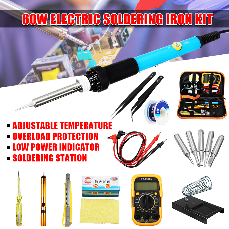2019 New 110V 60W Electric Soldering Iron Adjustable Temperature Welding Kit Multimeter Tool Set W/ Kit Bag + 5 Tips + Stand + Carry Case
