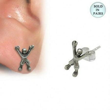 .925 Sterling Silver Boxer Figure Ear Studs 925 Sterling Silver Figure