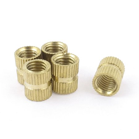 Unique Bargains 5 Pcs M8x12 Female Brass Knurled Thumb Nut Inserts Embedded Parts