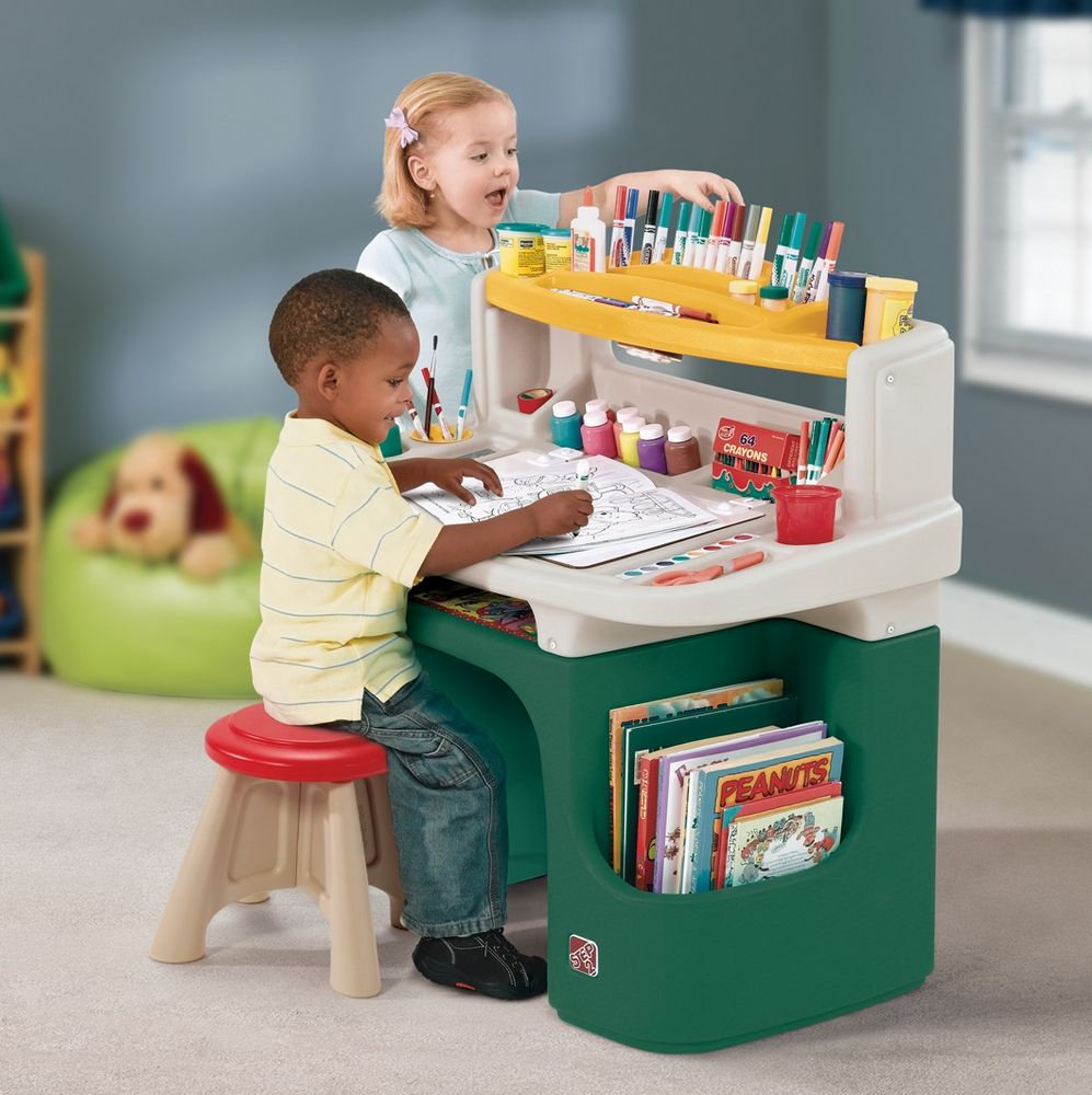 Kids Desk Set Step2 Preschool Chair Stool Table Study Play Home Art Organizer 747925083182