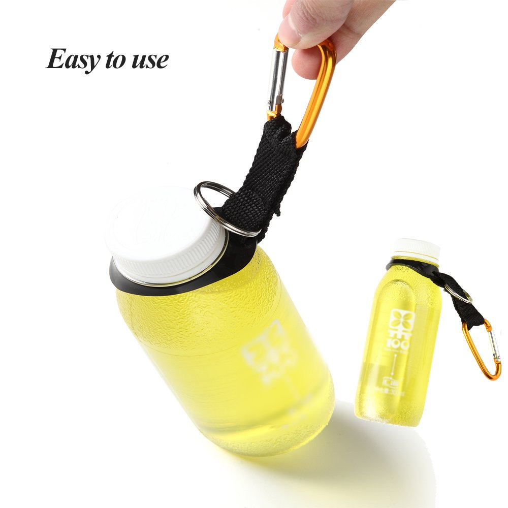 6pc Silicone Water Bottle Carrier Hiking Bottle Holder Clip Hooks with Carabiner
