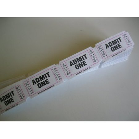 100 white admit one consecutively numbered raffle tickets 100 white