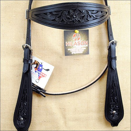 Hand Tooled Black Leather - HILASON WESTERN HAND TOOLED AMERICAN LEATHER HORSE HEADSTALL BLACK