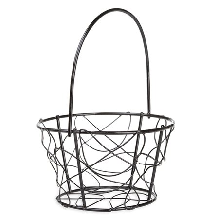 Stella Mini Wire Bucket Basket with Fixed Handle - Black - - Wire Buckle