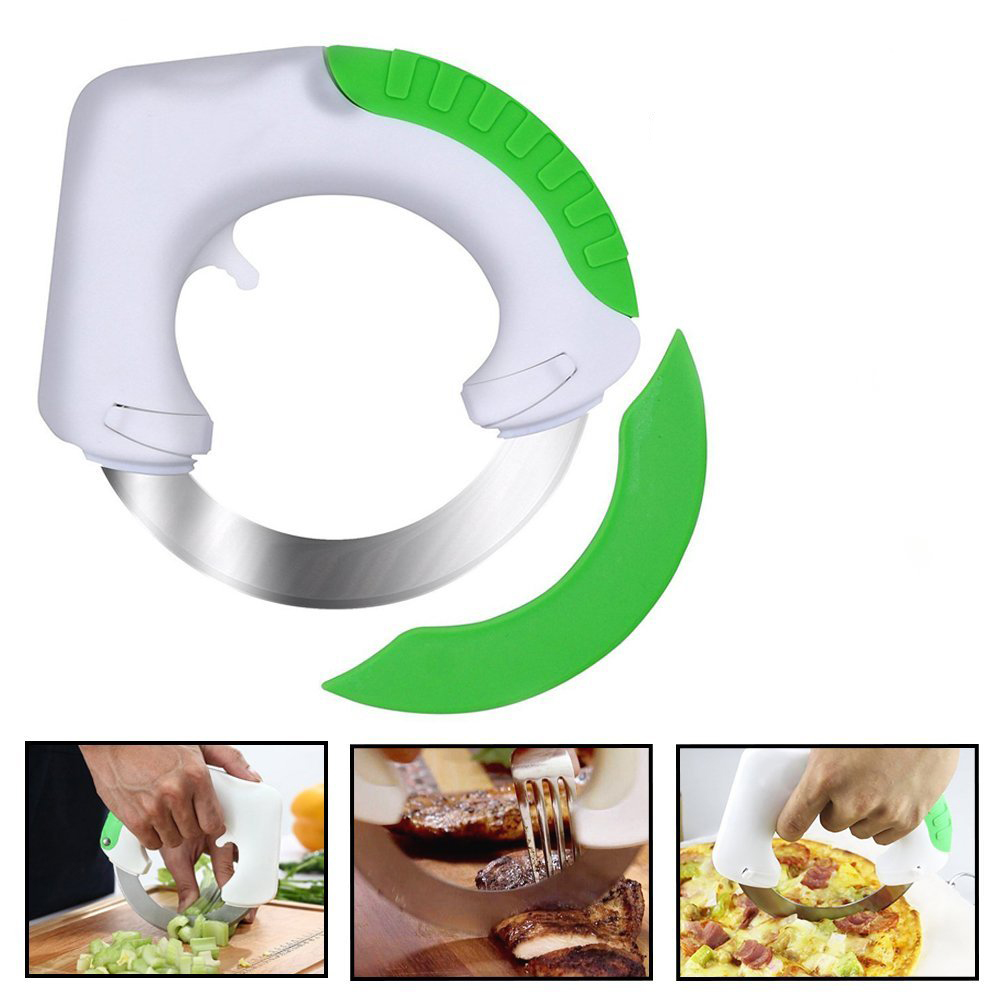 Rolling Knife,Circular Stainless Steel Rolling Cutter for Pizza Vegetables Salad Meat Kitchen Helper Chopper