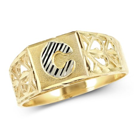 LoveBling 10K Yellow Gold Diamond Cut Ladies Alphabet Initial Ring, Block Lettering (C, 7) Block Initial Ring