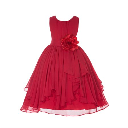 Button Bodice (Ekidsbridal Yoryu Chiffon Ruched Bodice Flower Girl Dress Toddler Wedding Pageant Recital Easter 162F Red size 4 )