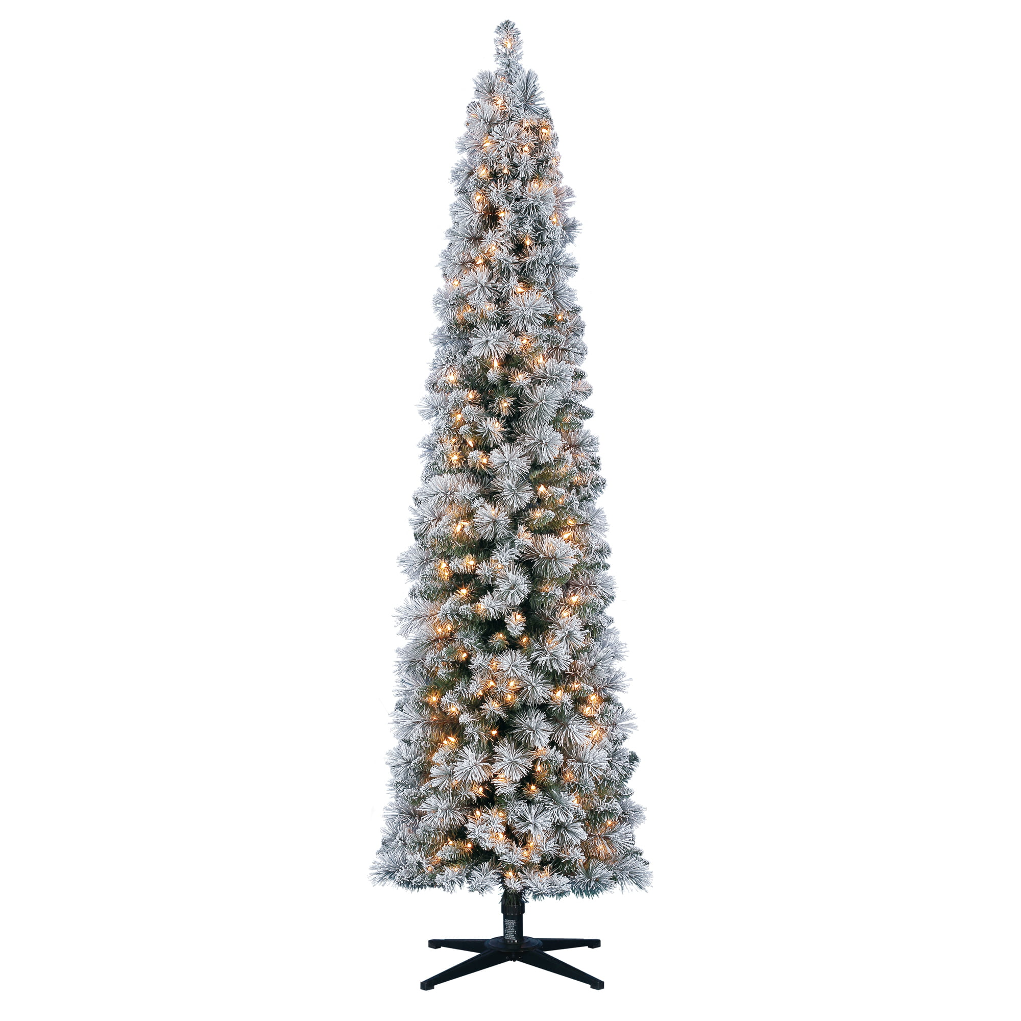 Holiday Time Flocked Pencil Christmas Tree 7 Ft White On Green Walmart Com Walmart Com