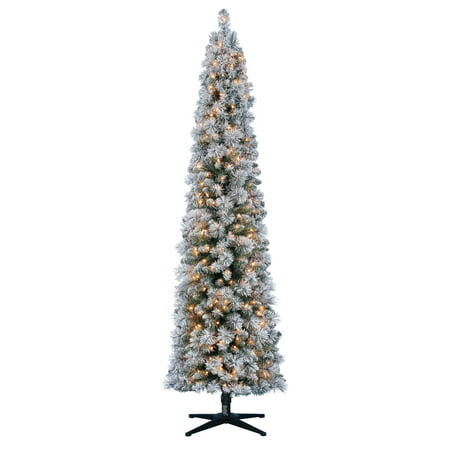holiday time 7ft pre lit flocked pencil colorado artificial christmas tree with 250 clear lights