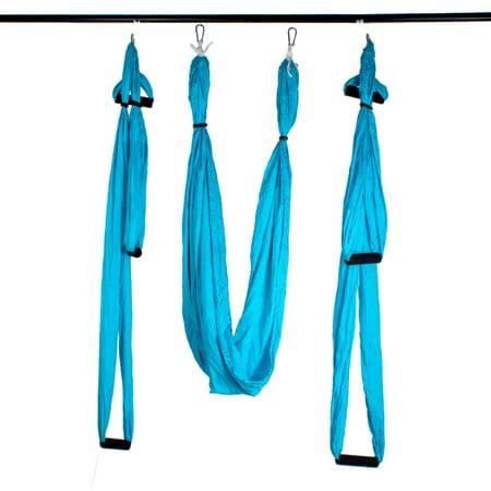 AGPtek Yoga aérienne Deluxe Yoga hamac Sling Trapeze pour Inversion Yoga aérien, Voler Antigravity-Bleu