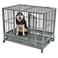 "Dog Carriers for Medium Dogs, 42"" Heavy Duty Dog Crates and Kennels, Portable Strong Metal Dog Crates for Large Dog, Double Door Dog Crates With Wheels, Easy to Assemble Pet Playpen, Silver, W3004"