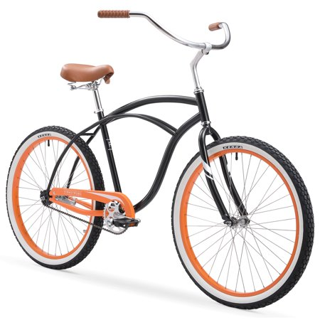 Firmstrong Special Edition Urban Man Cruiser Bike, 26 Inches, Single-Speed, Black with Orange