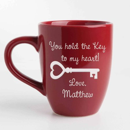 Personalized Key To My Heart Red Bistro 14.5 oz Coffee Mug