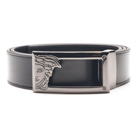 Versace Collection Men's Medusa Steel Buckle Leather Belt