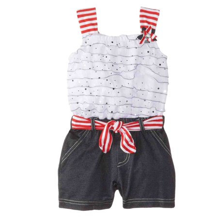 Little Lass Infant & Toddler Girls Ruffle Top & Shorts Romper Creeper Jumper