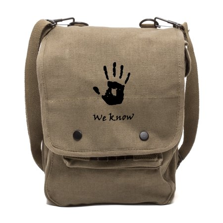 Skyrim We Know Army Canvas Travel Map Bag Case in Olive & (We Know The Sound Of Two Hands Clapping)