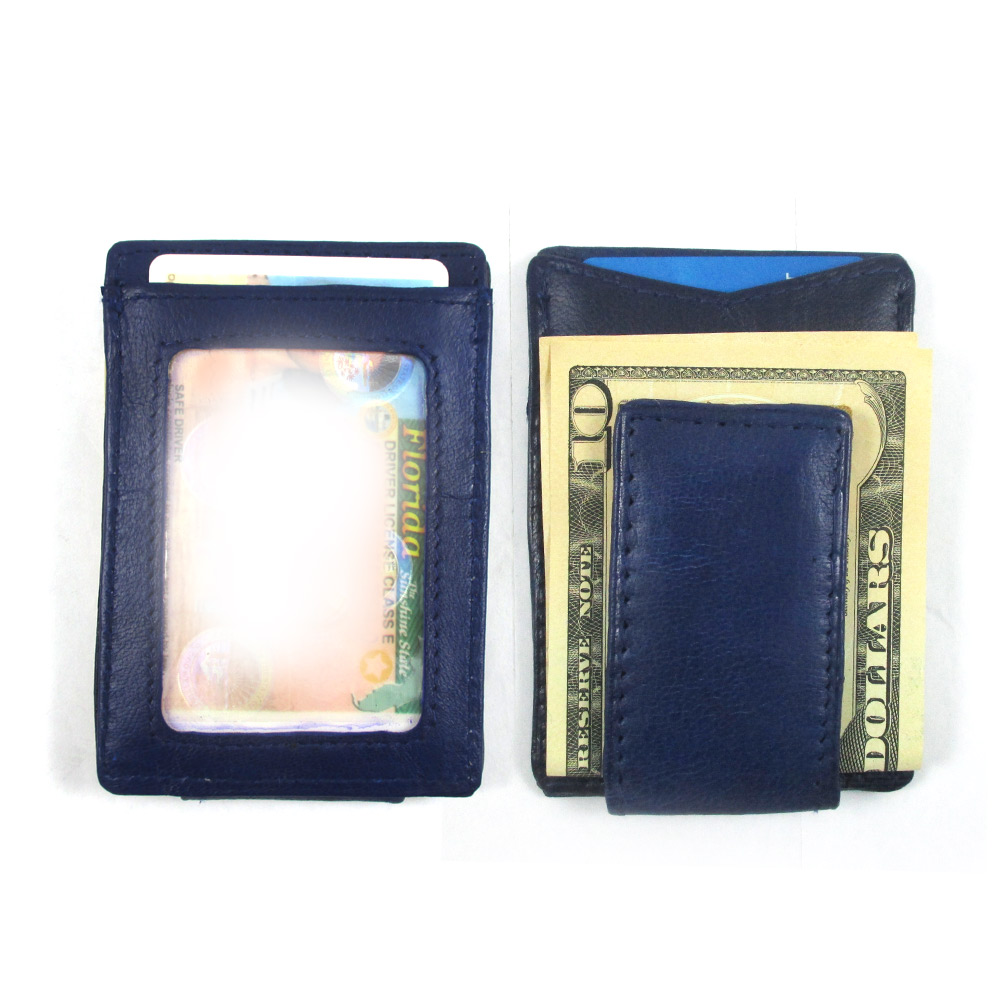 Men's Leather Wallet Credit Card ID Holder Money Clip Blue Genuine Slim New !!