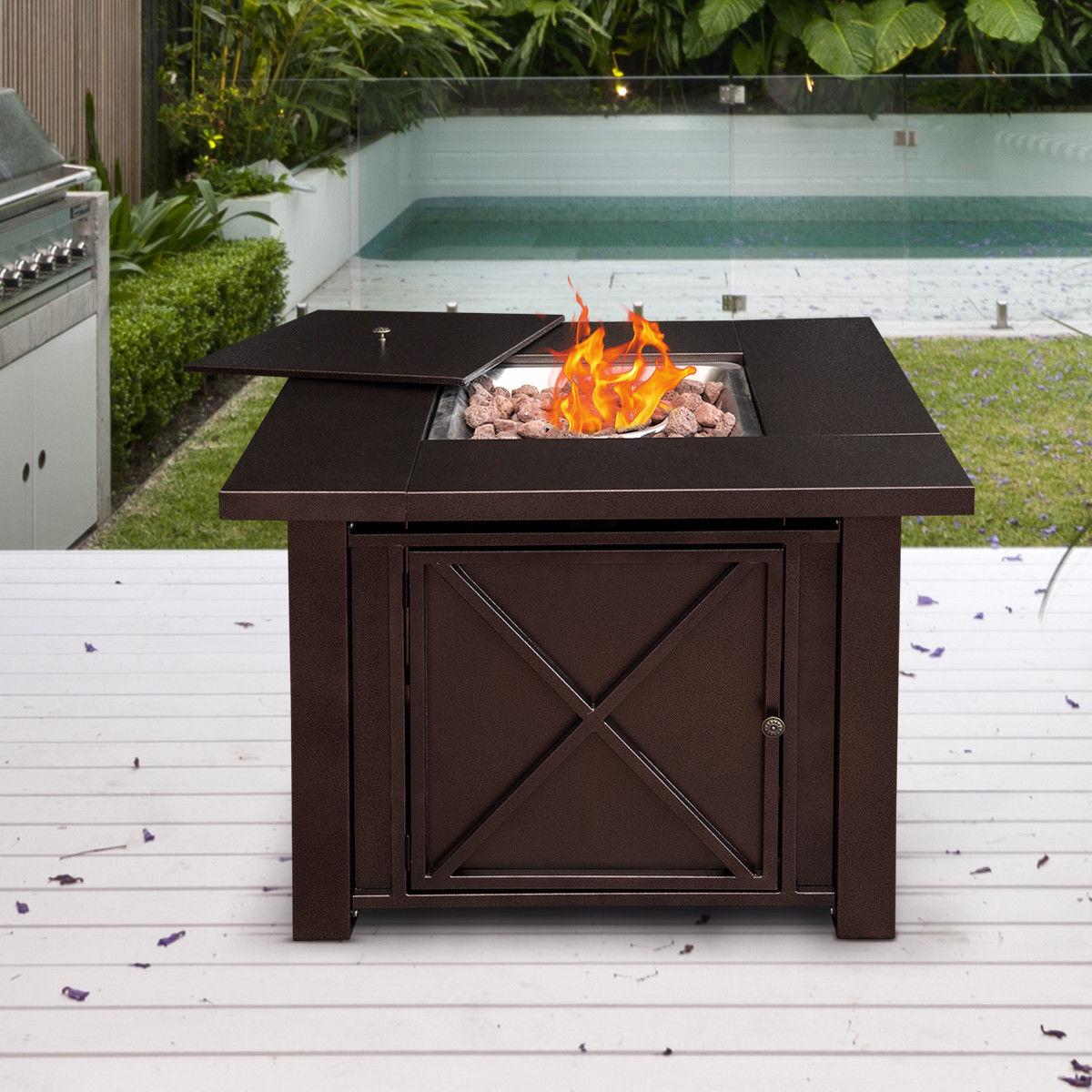 "Costway 38"" Square Patio Heater Propane Gas Fire Pit Table 40000 BTUs Outdoor - image 9 de 10"