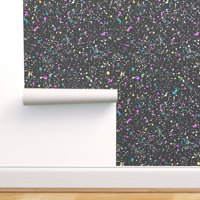 Removable Water-Activated Wallpaper Paint Splatter Abstract Geometric 80S Mod