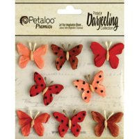 Petaloo Darjeeling Teastained Butterflies, Mini, Red, 8-Pack Multi-Colored