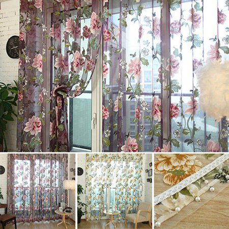 Girl12Queen Home Textile Flower Embroidered Chinese Fabric Tulle Sheer 3D Window Curtain