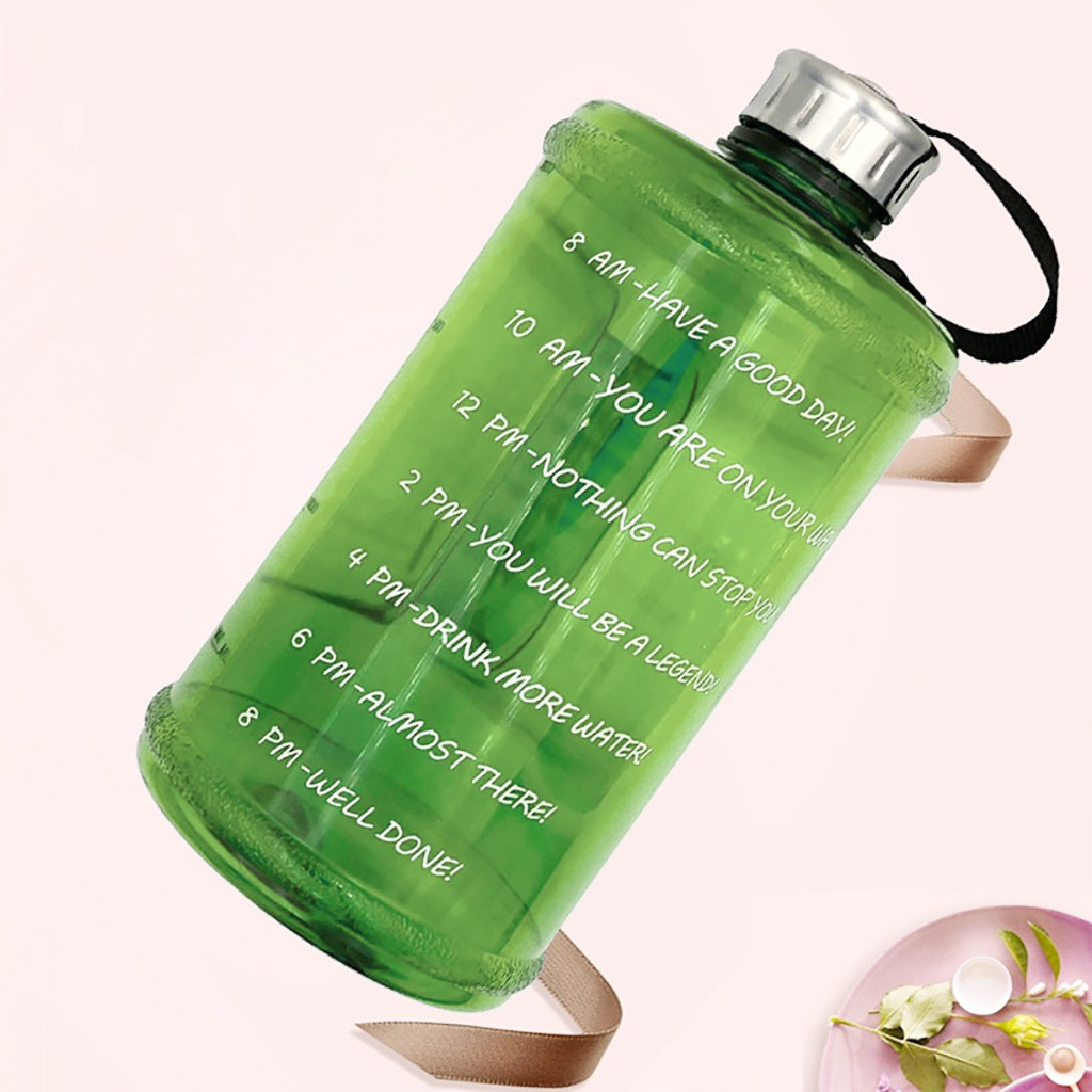 Gallon Water Bottle Fitness Workout with Time Marker Drink Large 73OZ  Capacity