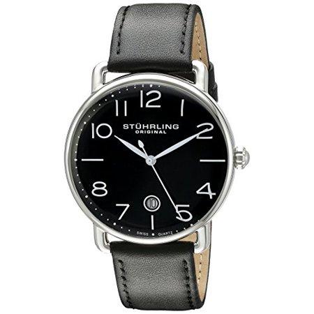 Men's 695.04 Symphony Analog Display Swiss Quartz Date Black Leather Strap Watch
