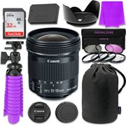 Canon EF-S 10-18mm f 4.5-5.6 IS STM Lens Bundle with SanDisk 32GB Memory Card, LP-E12 Replacement Ba