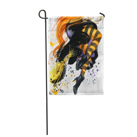 LADDKE Orange Coven Girl Witch Halloween Holiday Festival Watercolor Hand Garden Flag Decorative Flag House Banner 12x18 inch](Halloween Witches Coven)