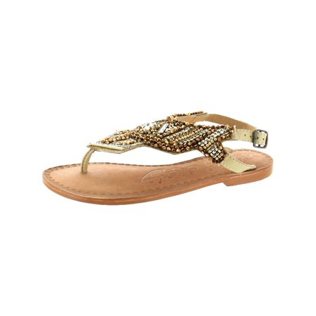 Naughty Monkey Womens Pop Life  Slingback Beaded Flat Sandals - Sandals Beaded