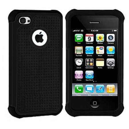 Importer520 Hybrid Armor Silicone + Hard Case Cover for Apple iPhone 4, 4S (AT&T, Verizon, Sprint) Black + Black  ()