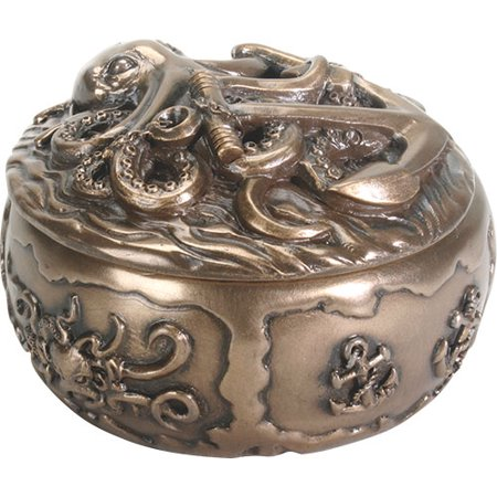 Ebros Gift Kraken Octopus Decorative Round Jewelry Box 4