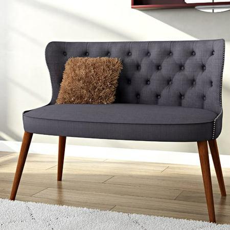 Oak Upholstered Loveseat - Gracie Oaks Sempronius Wood Upholstered Button-Tufting Loveseat