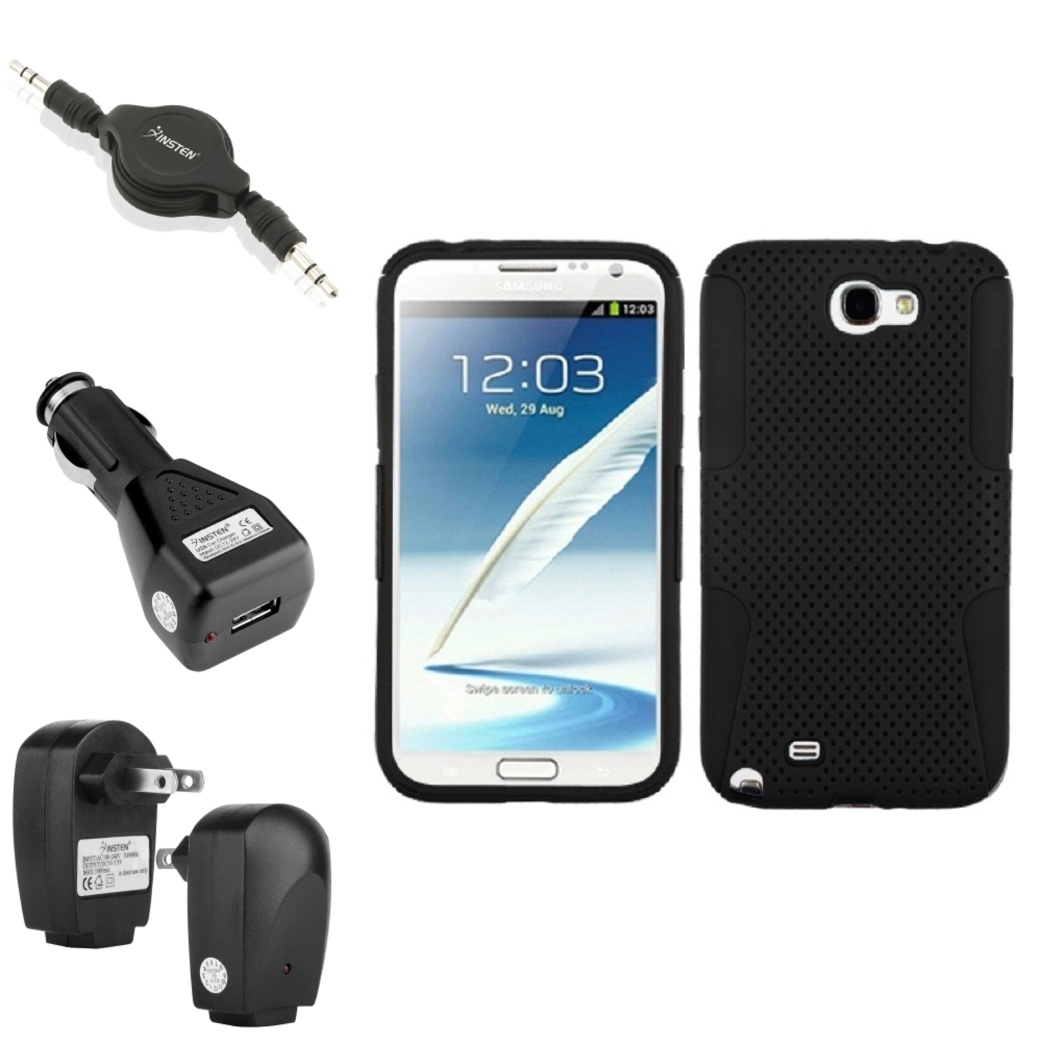 Insten Black/Black Hybrid Case+2x Charger+Audio Cable For Samsung Galaxy Note 2 II