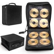 CD DVD Carrying Case 288 Capacity Disc Bluray Storage Box Organizer Holder Album Container Wallet Solution Page Sleeves Binder Portable in Black