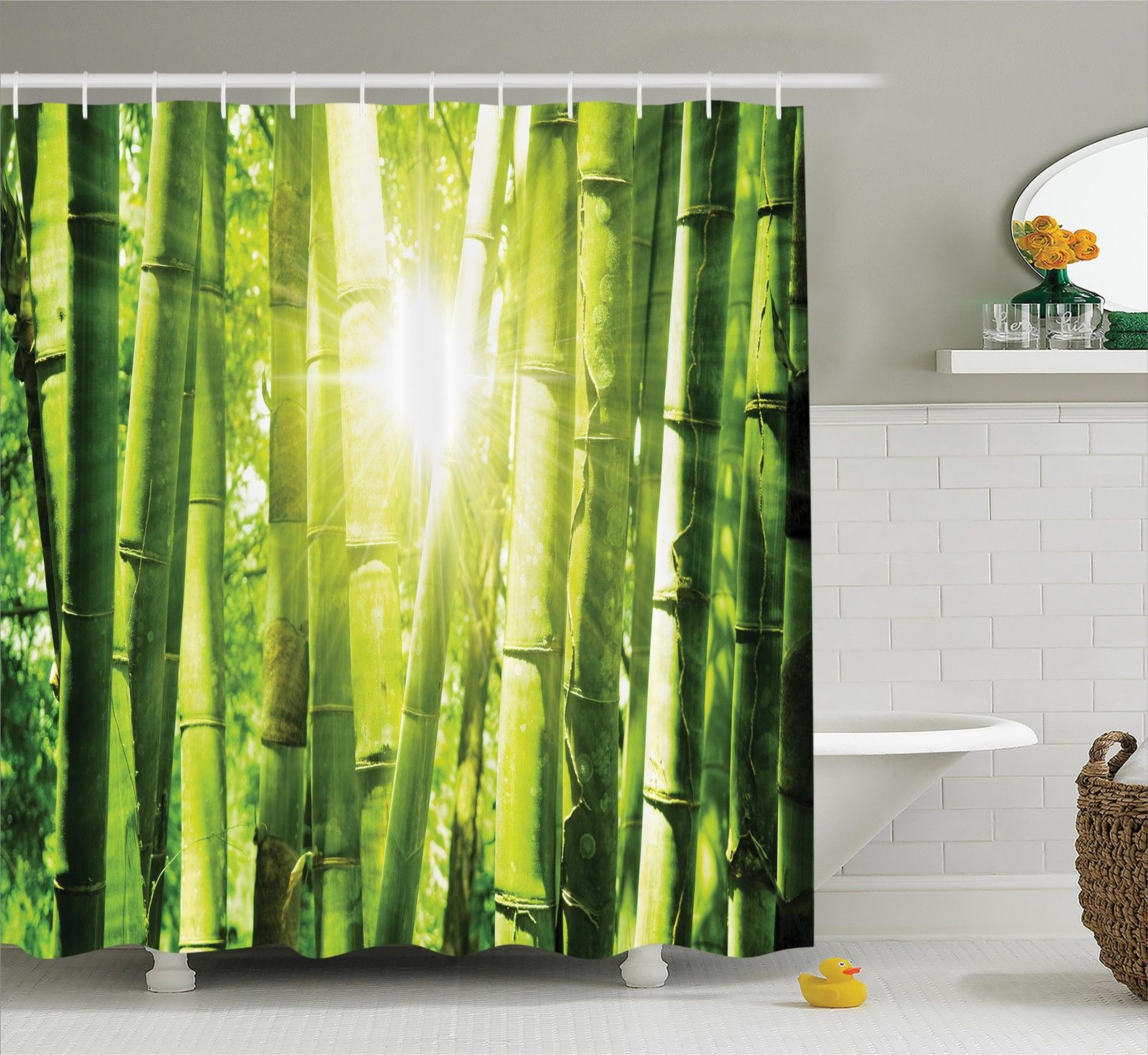 Asian Decor Shower Curtain Set, Asian Bamboo Forest With Morning Sunlight Sun Shining Through Trees Jungle Scene, Bathroom Accessories, 69W X 70L Inches, By Ambesonne