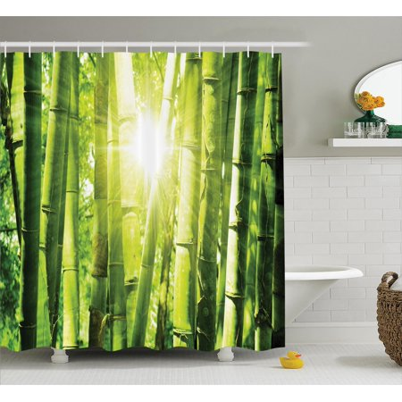 Asian Decor Shower Curtain Set Bamboo Forest With Morning Sunlight Sun Shining Through Trees