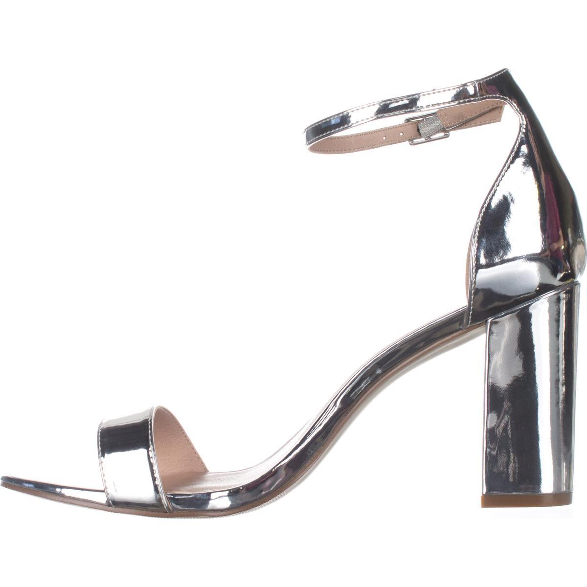 Womens madden girl Beella Ankle Strap Dress Sandals, Silver Metallic