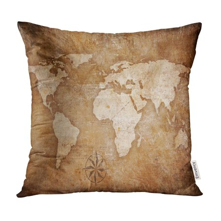 ECCOT Old World Map Rose Antique Globe Vintage Pillow Case Pillow Cover 16x16 inch