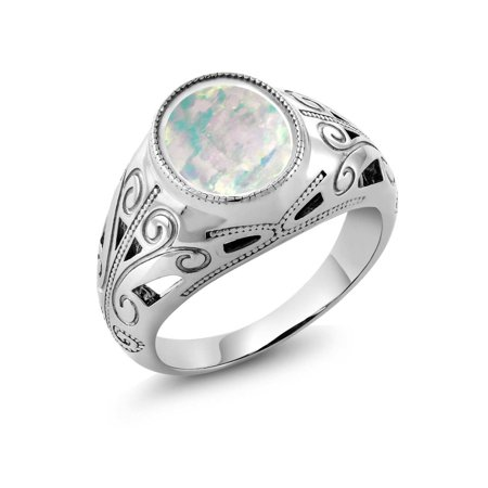 4.00 Ct Oval White Simulated Opal 925 Sterling Silver Men's Ring ()
