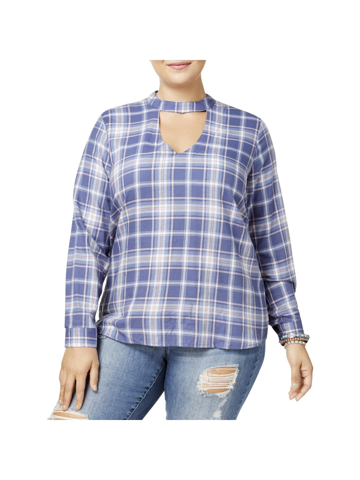 No Comment Womens Plus Plaid Cuff Sleeves Choker Top