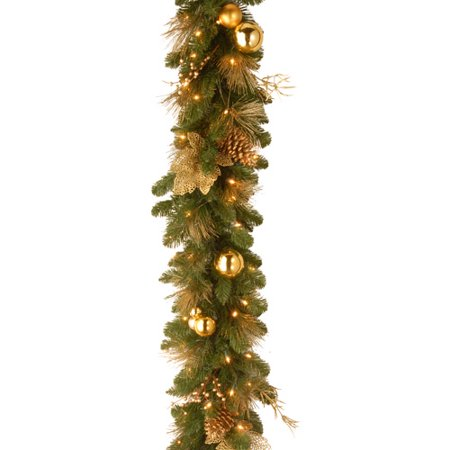 National Tree 6 x 12 Decorative Collection Elegance Garland with Berries, Pine Cones and Gold Leaves with Battery Operated LEDs with Timer