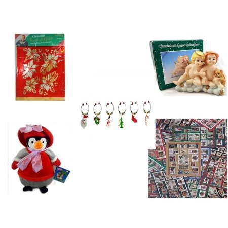 Christmas Fun Gift Bundle [5 Piece] -  Touch of Gold 1-Step Iron-On Foil Poinsettias - Blonde & Red Head Angel Child Resin Figurine 3.5