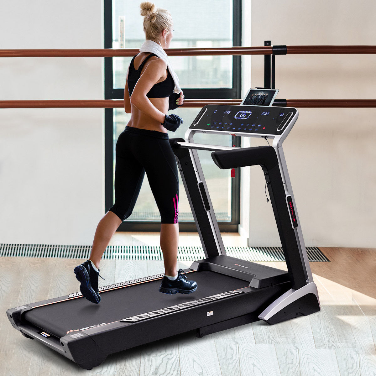 Goplus Folding Electric Treadmill 4.0HP Auto Incline 7''LED Touch Screen Fitness