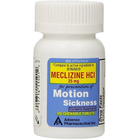 Meclizine 25 mg Generic Bonine Motion Sickness 100 Chew Tablets