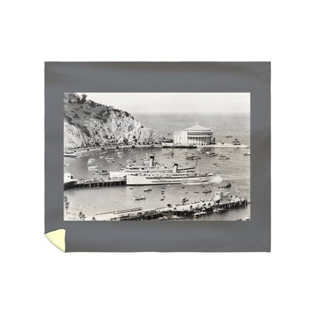 Catalina Island, California - Steamers and Casino - Vintage Photograph (88x104 King Microfiber Duvet Cover)