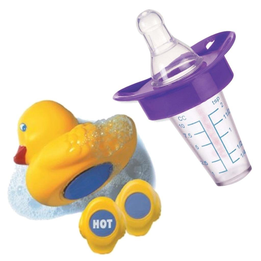 Munchkin The Medicator Pacifier Medicine Dispenser with Munchkin White Hot Bath Ducky, Purple