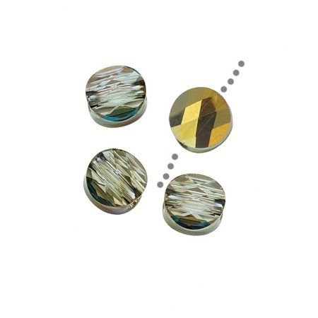 Iridescent Crystal - Swarovski Crystal, #5052 Round Mini Beads 6mm, 4 Pieces, Crystal Iridescent Green