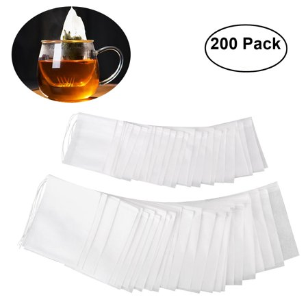 OUNONA 200pcs Drawstring Tea Bag Filter Paper Empty Tea Pouch Bags for Loose Leaf Tea Powder Herbs (White) Loose White Tea